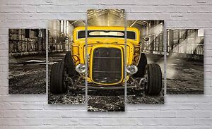Yellow Hot rod 5 Panel Canvas, Wall Art, Picture, Multi Panel Canvas, Print #019