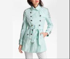 Sam Edelman Women Studded Shoulder Cotton Blend Lorissa Trench Coat Mint Green M
