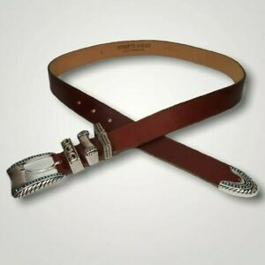 """Streets Ahead Women's Large 34"""" Turquoise & Silver Tone Western Style Brown Belt"""