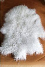 GENUINE WHITE TIBETAN MONGOLIAN FUR SHEEPSKIN LAMBSKIN HIDE RUG Cushion THROW