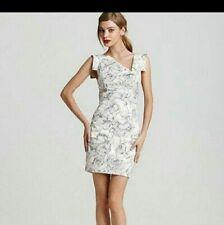 BLACK HALO Black & Gray print Jackie O mini dress 6 NWT