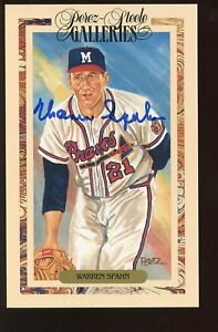 1990 Perez Steele Baseball Postcard Galleries Warren Spahn Autographed Hologram