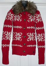 Abercrombie Kids Girls Winter Red Snowflake Fur Collar Cardigan Sweater Sz XL **