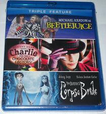 Beetlejuice/Charlie and Chocolate Factory/Tim Burton's Corpse Bride Blu-Ray NEW