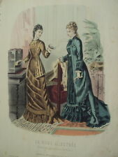 GRAVURE LA MODE ILLUSTREE ROBE ANCIENNE 1877 N° 38