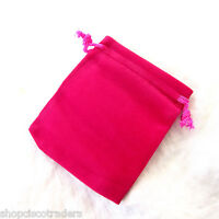 Three Bags Velour Hot Pink Drawstring 3x4inch Wedding Party Jewelry Pouches