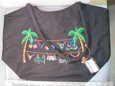 NWT Stowaway Large Black Zippered Beach Bag Tote Tropical Bikini HD032C