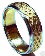 BRAND NEW! TWO TONE WHITE&GOLD MEN'S WEDDING BAND RING