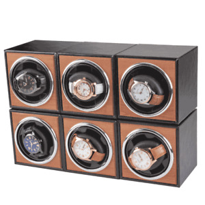 Automatic Mechanical Watch Winder Box Leather Wood Self-Winding Display Case