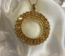 "6.75 Ct, Natural, Citrine, Pendant, Circle Of Life, 18"", 14K Gold On Sterling"