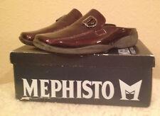 NIB $215 MEPHISTO Dhana Playalack PATENT LEATHER BURGUNDY Mules Shoes Womens 6 M