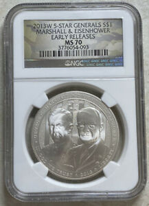 2013 W 5Star Generals Marshall & Eisenhower $1 Silver Commemorative NGC MS 70 ER