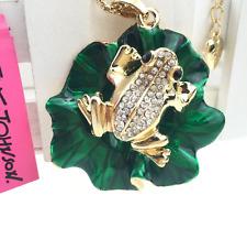 Betsey Johnson Jewelry Pendant Rhinestone Chain Women Lotus leaf frog Necklace