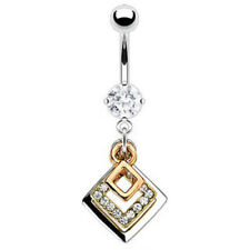 3 Tone CZ Clear Gem Dangle Belly Ring Navel (w169)