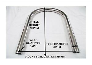 Two roll bars hoops AC Cobra 427 pilgrim dax polished stainless steel two leg