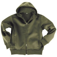 MILITARY NEOPRENE MENS JACKET with FLEECE LINING HOODED SWEATSHIRT OLIVE S-XXL