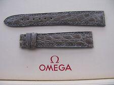 NOS Vintage Omega 15mm Silber/Grau Leder Damen Armband - UMWERFEND & SEHR SELTEN