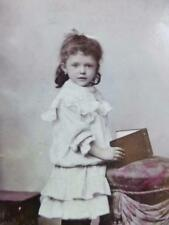 Antique CDV Cabinet Photo c1890s Adorable Little Girl Poses Sweetly w Book