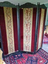 More details for antique triple ebonised , velvet ,tapestry, room divider screen 76