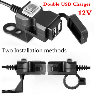 Black Motorcycle 12V Dual USB Intelligent Charger Socket Mounts w/Safety Switch