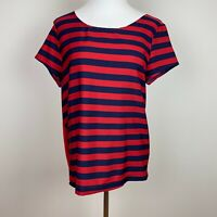 Gap Top M Striped Red Navy Blue Short Sleeve Scoop Neck Solid Back Womens Medium