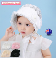 Baby Shower Retro Infant Girls Christening Lace Sun hat beanie cap Bonnet strap