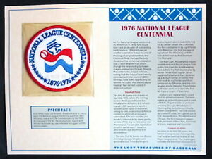 1976 NATIONAL LEAGUE CENTENNIAL 100 Years LOST TREASURES OF BASEBALL PATCH CARD