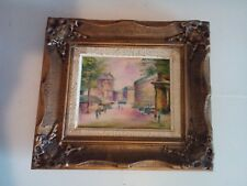 Vintage Euro Street scene - Oil Painting on Canvas, 10 x 8.5 Inch, By Rual