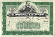 NEW JERSEY 1911 The Manufactured Rubber Company Stock Certificate ABN