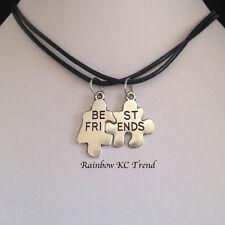 Genuine Leather Best Friends Jigsaw Piece Pendant Black Leather Choker Necklace