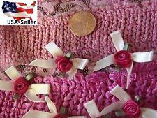 "lot 12 pieces unique ivory fuchsia satin rose ribbon bow applique 1 1/2"""