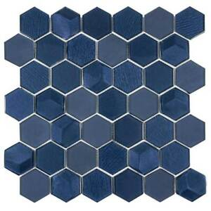Modern Hexagon Blue Bold Glossy Metallic Glass Mosaic Tile MTO0338