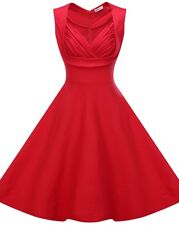 Women's V-neck Vintage Style 1950's Retro Rockabilly Evening Party Swing Dress Red 10