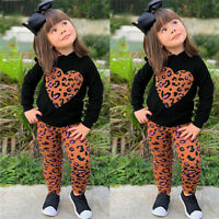 2PCS Toddler Kids Baby Girl Love Leopard Hooded Long Sleeve Top Pants Outfit Set