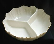 Lenox 3 Part Relish Bowl Ivory Fine China 24k Gold Rim made in Usa Lovely piece