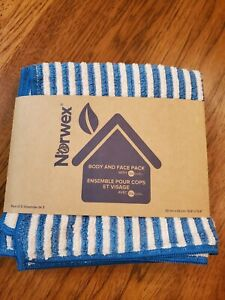 Norwex Body And Face 3 Pack Washcloth Set Microfiber Teal Vanilla Stripe