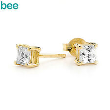 4x4mm White Simulated Diamond 9ct Solid Yellow Gold Stud Earrings