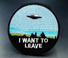 I Want To Leave UFO Alien Embroidered Iron On Patches Badges Transfers Patch