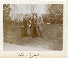 France, Chèvreville, Trois amis, mai 1892, Vintage citrate print Vintage citrate
