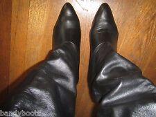 Joyce California black leather high heel knee boots 10½ 10.5 B VTG 80's pull on