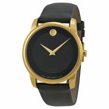 ✅ Movado 0606876 Museum Men's Gold Black Dial Leather Strap Swiss Quartz Watch