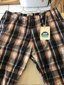 Sao Paulo Brasil Navy Cargo Check Large Shorts  Brand New With Tags
