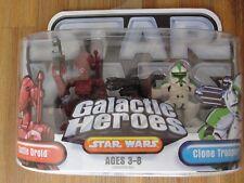 Star Wars 2006 Galactic Heroes BATTLE DROID & CLONE TROOPER Figures New
