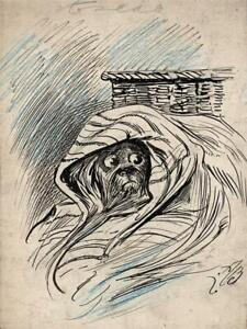 ALFRED BRYAN (1852-1899) Small Pen & Ink Drawing DOG STUDY ILLUSTRATION