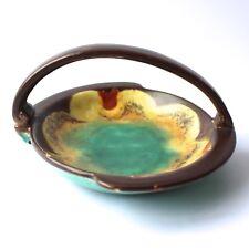Art Deco Studio Pottery Drip Glaze Dish Basket with Handle England No86 20/30s