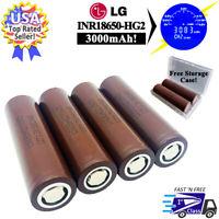 4pcs LG INR18650 HG2 - 20A High Drain Li-Ion Battery 3000mAh Flat Top 3.7V