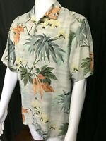 Tommy Bahama 100% SILK Hawaiian Camp Shirt M green blue tan Floral Palm NWOT