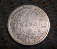 Empire of Germany 1876 F - 1 Mark Silver Coin - Stuttgart Mint