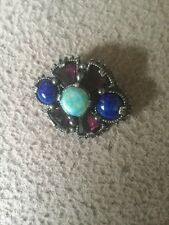 Vintage Signed Miracle Scottish Brooch,Light Blue,Lapis Style And Mauve Stones
