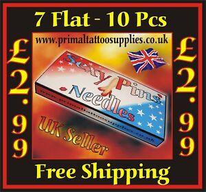 Sexy Pins Tattoo Needles 7 Flat -  Box of 10  - (Tattoo Supplies - Grips - Tips)